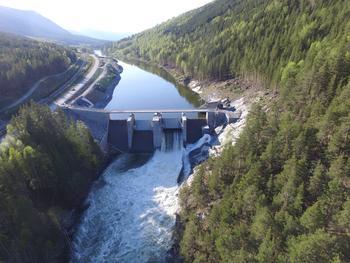 Dronebilde av Rosten-dammen